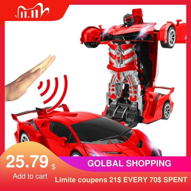 2,4 Ghz Индукционная Трансформация Робот автомобиль 1:14 деформация RC автомобиль игрушка светодиодный светильник Электрический робот модели fightent игрушки подарки
