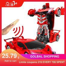 Brinquedo carrinho robô controle remoto, brinquedo escala 1:14, carrinho RC com luz de LED, modelos de robô elétrico, brinquedos de luta, presentes, 2,4GHz