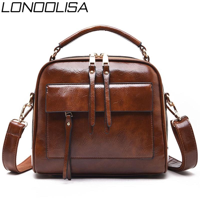Genuine Leather Luxury Handbags Women Bags Designer Vintage Ladies Double Layer Inner Shoulder Bag Crossbody Bags for Women 2019-in Top-Handle Bags from Luggage & Bags