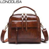Genuine Leather Luxury Handbags Women Bags Designer Vintage Ladies Double Layer Inner Shoulder Bag Crossbody Bags for Women 2019