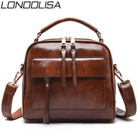 LONOOLISA New Luxury Design Leather Square Bag Ladies Shoulder Bag Double Zipper Double Layer Inner Bag Women Messenger Bag Sac