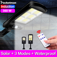 Outdoor Solar LED Street Light 360W Remote Waterproof Wall Lamp PIR Sensor induction COB Industrial Garden Square Road lamp