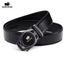 BISON DENIM ceinture de marque en cuir pour hommes, ceintures à boucle automatique en cuir véritable, ceintures pour hommes, tendance, N71446
