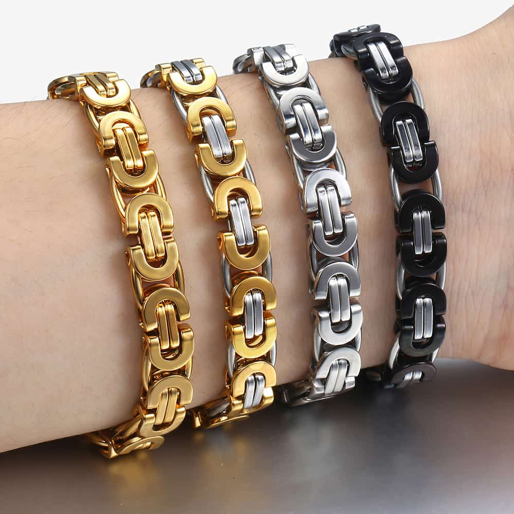 Davieslee Byzantine Chain Bracelet for Men Gold Black Silver Color Stainless Steel Mens Bracelets Jewelry 6/8/11mm LKBM31