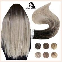 Полностью Блестящая лента, натуральные человеческие волосы для наращивания, Omber цвет, блонд, кожа, уток, натуральные человеческие волосы Remy, ...