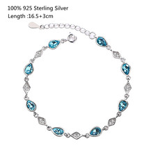 100% 925 Sterling Silver Bracelet Women Sweet and Simple Blue Crystal Bracelet for Women Fashion Jewelry цена 2017