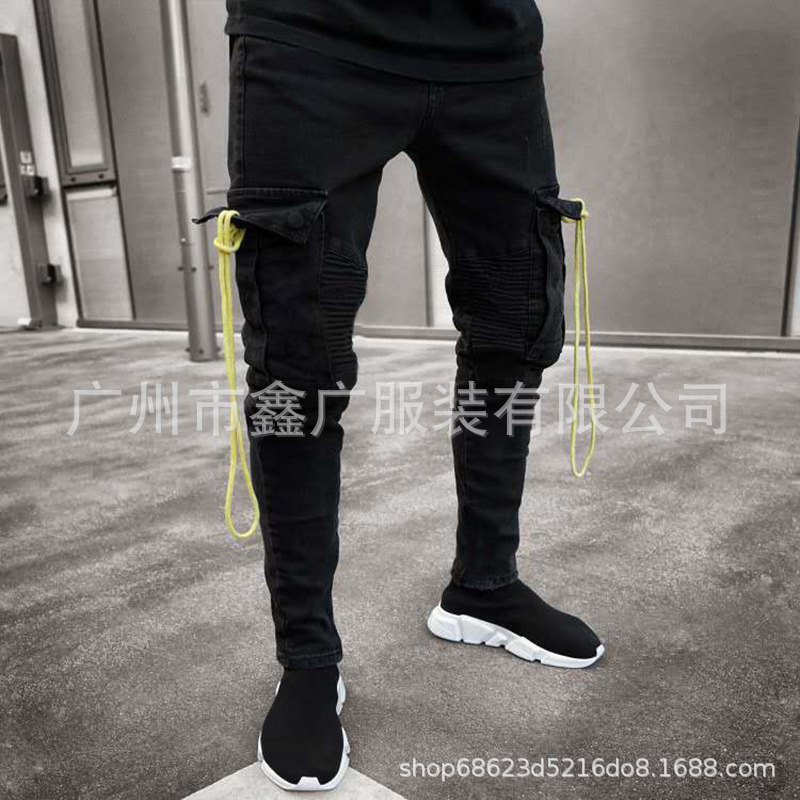 Europe And America MEN'S Jeans Black And White With Pattern Elasticity With Holes Pencil Case Skinny Pants L0008