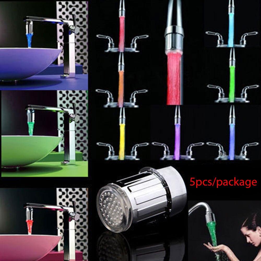 5pcs/Bag ABS LED Faucet Adapter Faucet Adapter Hose Adapter Water Tap Garden Faucet Diverter Valve Adapter Kitchen Accessories