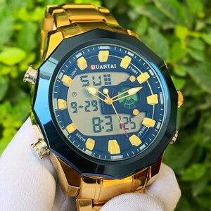 Image 3 - DUANTAI Big Dial Watch Mens Sport Watch Stainless Steel Quartz Back Light Golden Wristwatch Dual Display