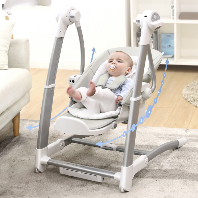2 In 1 Children's Dining Chair Rocking High Chair Electric Baby Swing Sleepingmultifunction Adjustable  Highchair