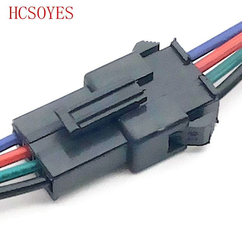Wholesale 10 Pairs 4pin JST Connector Male Female Cable For  WS2801/3528/LPD8806/5050 SMD RGB Color LED Strip Wire
