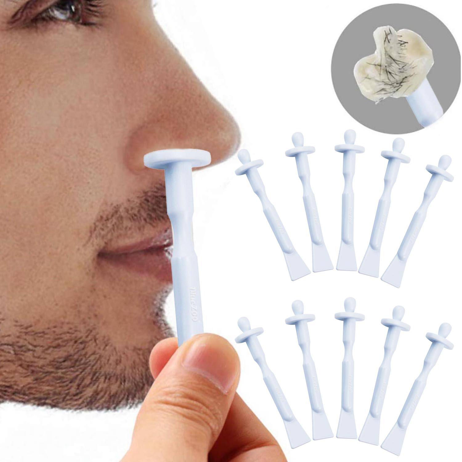 60pcs Disposable Nose Wax Applicator Sticks Spatulas For Nostril Nasal Cleaning Ear Hairs Eyebrow Facial Hair Removal