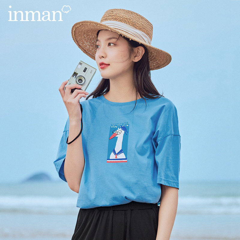INMAN 2020 Summer New Arrival Cotton O-neck Cute Print Lazy Style Short Sleeve T-shirt