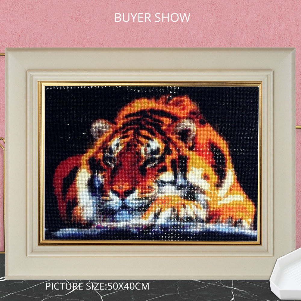 HUACAN 5D Diamond Painting Animal Tiger Full Square Rhinestone Picture Embroidery Sale Diamond Mosaic Home Decor Gift