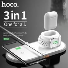 HOCO 3 in 1 Qi kablosuz şarj pedi iPhone 11 pro X XS Max XR Apple Watch için 4 3 2 Airpods Samsung için 10W hızlı şarj S10