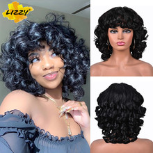 Short Hair Afro Curly Wig With Bangs Loose Synthetic Cosplay Fluffy Shoulder Length Natural Wigs For Black Women Dark Brown 14 #8243 cheap Lizzyhair High Temperature Fiber Daily Use CN(Origin) 1 Piece Only 150 Average Size 220g