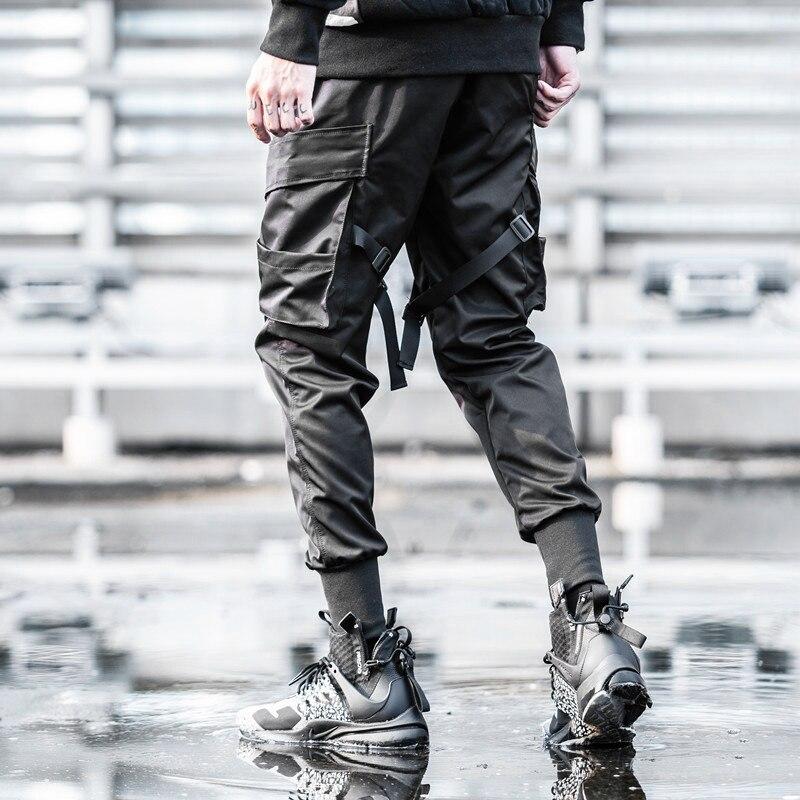 Güvenlik ve Koruma'ten Emniyet Giyim'de 2019 kargo pantolon cepler Hip Hop erkekler Streetwear Harajuku pantolon Joggers Swag şerit harem pantolon siyah pantolon Sweatpants sonbahar title=