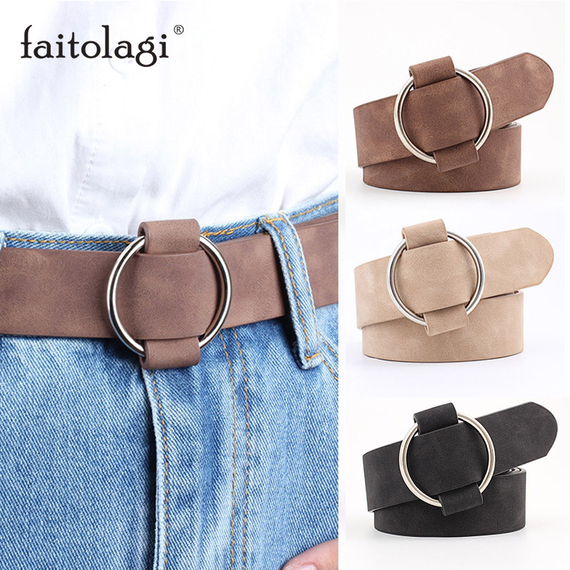 Needle-free Round Buckle Leather Belts For Women Quality Female Jeans Pants Belts Black Coffee Ladies Belt Strap Cinturon Mujer