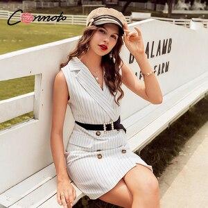 Image 2 - Женское короткое офисное платье Conmoto, Белое Облегающее Платье блейзер с карманами, без рукавов, на пуговицах, Осень зима 2019