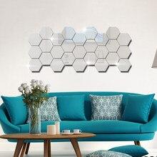 12/24/36/48Pcs/60 pçs/set 3D Hexágono Acrílico Espelhado Espelho Adesivos de Parede DIY Arte Adesivos de Parede Sala de estar Adesivos Decorativos