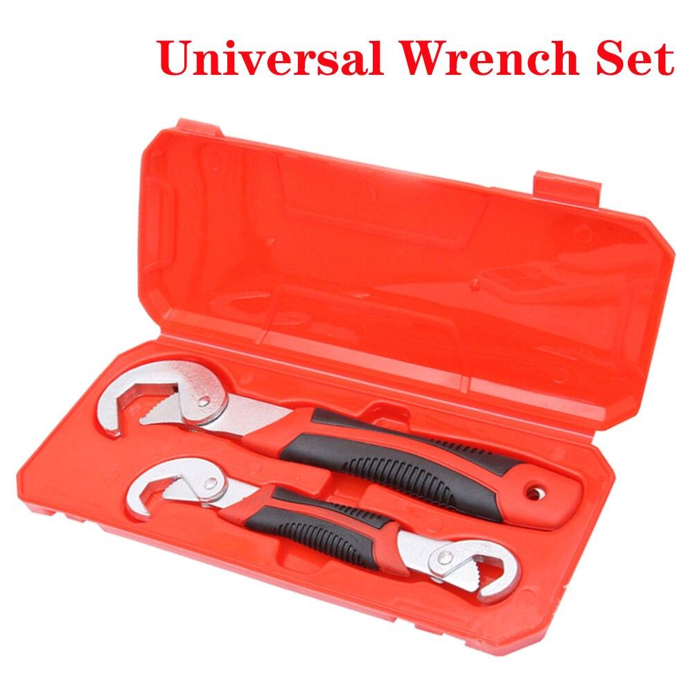 Jeu de clés universelles en acier chromé, Kit de clés à main, clé à cliquet, clé réglable, jeu d'outils de réparation de voiture