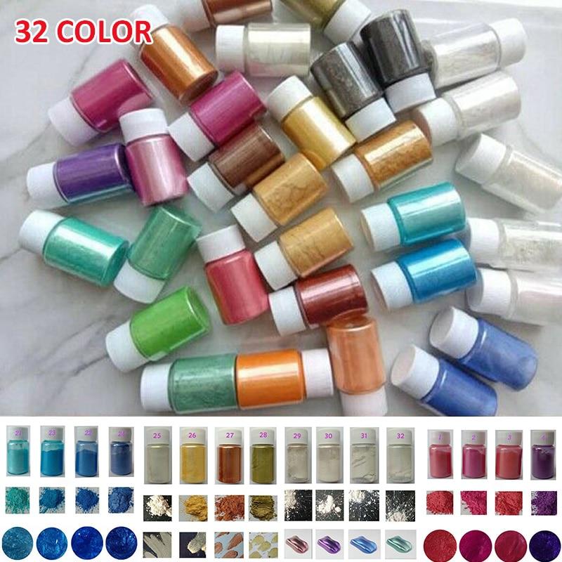 32 Colors Mica Pigment Dye Powder 10g Mica Powder Resin Dye Pearl Pigment DIY Soap Cosmetics Resin Colorant Jewelry Making