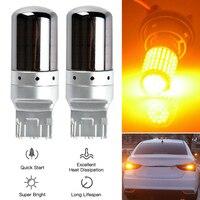 2 pezzi Set cromo 7440 T20 ambra Canbus senza errori lampadina a LED indicatore di direzione 21W canbus W21W 144-SMD lampadine a LED senza errori