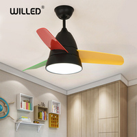 Macaron led Ceiling Fans with light 36w 26 inch 36 inch remote control restaurant bedroom fan modern minimalist