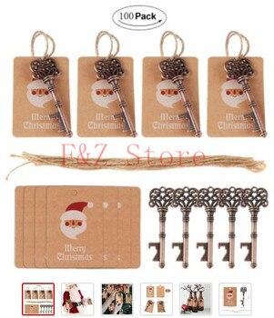 100 pcs Santa Magic Key for Christmas Kids Gifts Pendants Xmas Tree Decorations Hanging Ornaments Drop Home Christmas Decoration