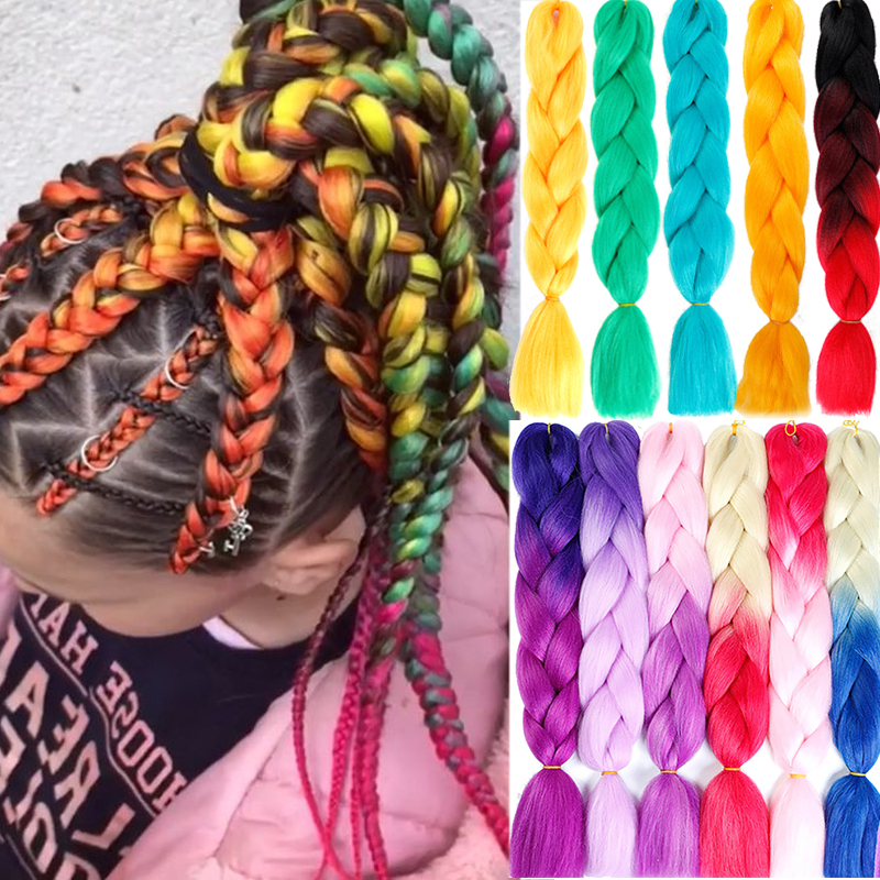 AILIADE Synthetic 24inch Crochet Box Braids Kanekalon Ombre Jumbo Braiding Hair Extension Braid Hair Pink Purple African Woman