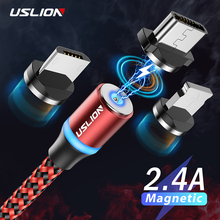 USLION 2m LED Micro USB Magnetic Cable USB C Type C Cable Fast Charging Wire For iPhone