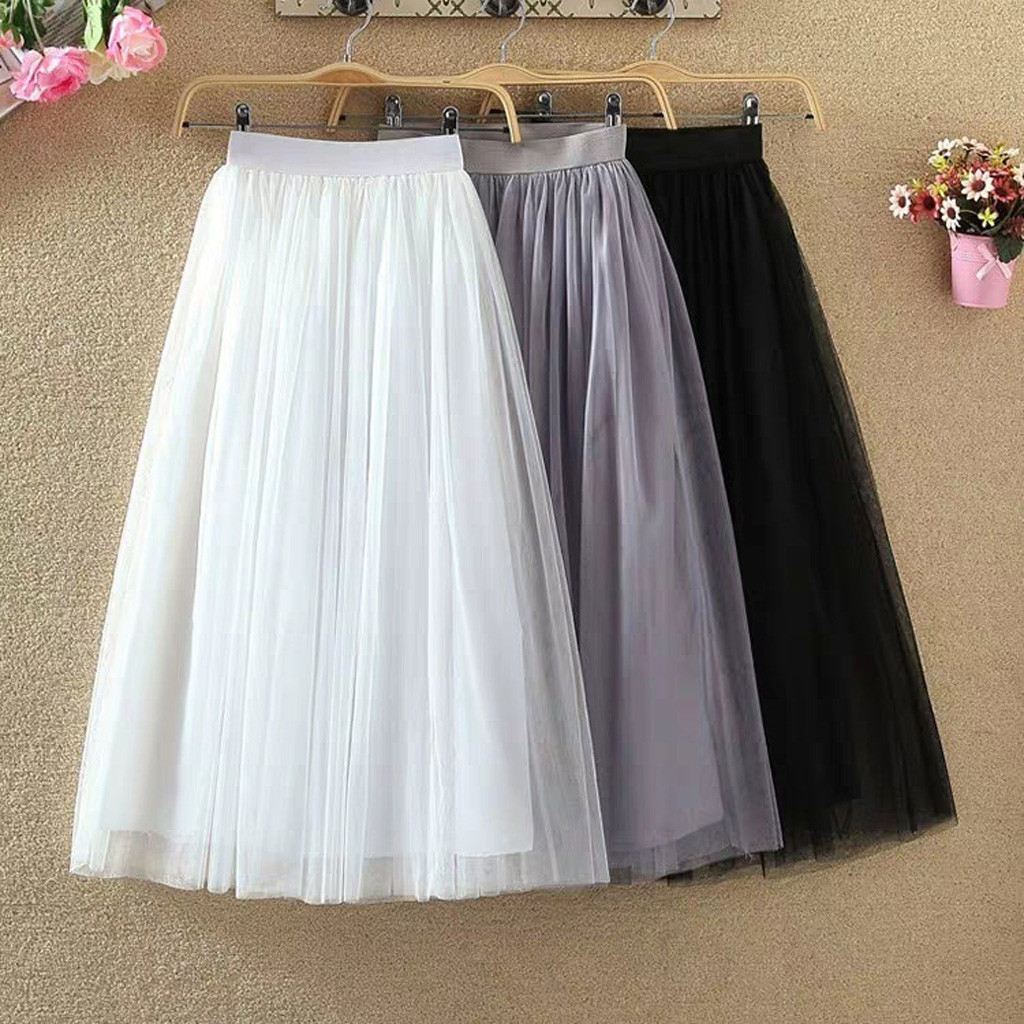 Fashion Womens Pleated Tulle Mesh Elastic High Waist Casual A-Line Long Skirts Dropshipping 2020 Winter Fashion Retro Trend Size