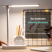 Table Lamp LED Eye Protection USB Charging Pen Holder With Clock Desk Lamp Bedroom Bedside Lamp Student Study Office Lamp