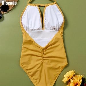 Image 5 - Riseado 섹시한 할터 수영복 여성 원피스 수영복 패치 워크 Beachwear 2020 스트라이프 수영복 Ruched Backless Bodysuit XXL