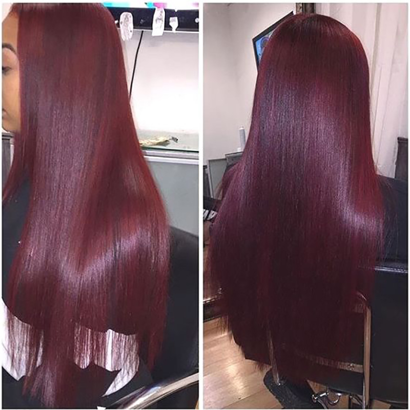 Pinshair Lace Front Human Hair Wigs T1B 99J Burgundy Red Straight Closure Wig Ombre Peruvian Non-Remy Hair Wigs For Black Women