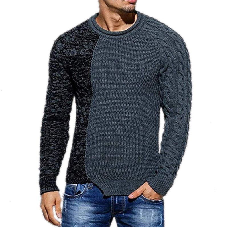 NEGIZBER Sweater Men's Fashion Trend Slim O-neck Long-sleeved Sweater Wild Casual Color Matching Headgear Men's Sweater