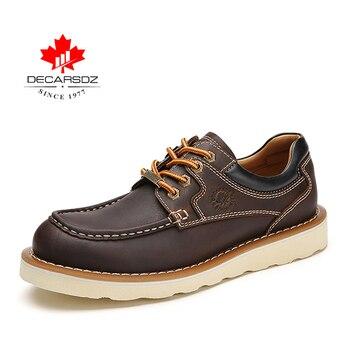 DECARSDZ Genuine leather Men Shoes Autumn New Comfy Lace-up Men Casual Shoes Man outdoor Durable outsole Men's Shoes Size 38-45 - DK-LWS-1001-9, 45