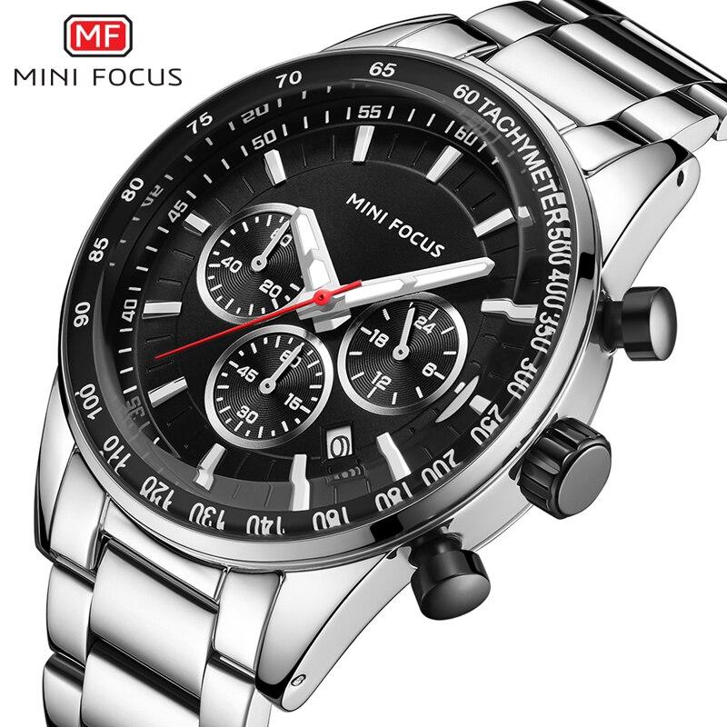 MINI FOCUS Watch Men Waterproof Stainless Steel Luxury Brand Fashion Quartz Sport Clock Men's Wristwatches Calendar Reloj Hombre