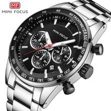 MINI FOCUS Watch Men Waterproof Stainless Steel Luxury Brand Fashion Quartz Sport Clock Mens Wristwatches Calendar Reloj Hombre