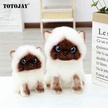 20-30cm simulação siamês gato brinquedo de pelúcia azul lantejoulas olhos kitty boneca marrom e branco rosto ragdoll gatos decoração para casa presente bonito