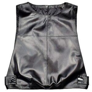 Image 5 - Women Genuine Leather Waistcoat Sheepskin Loose Fit Pullover Sleeveless Jacket Lady Autumn Short Leather Vest Streetwear Tops