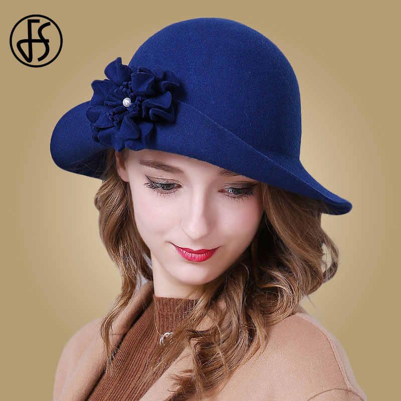 FS ผู้หญิงฤดูหนาวขนสัตว์ Fedoras สุภาพสตรี VINTAGE หมวกโบสถ์สีแดงสีฟ้าสีดำกว้าง Brim Fedora Elegant ดอกไม้ Bowler Felt Cloche หมวก