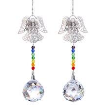 Angel-Decoration Suncatcher Hanging Rainbow 2-Chakra-Crystal-Ball Window Home of