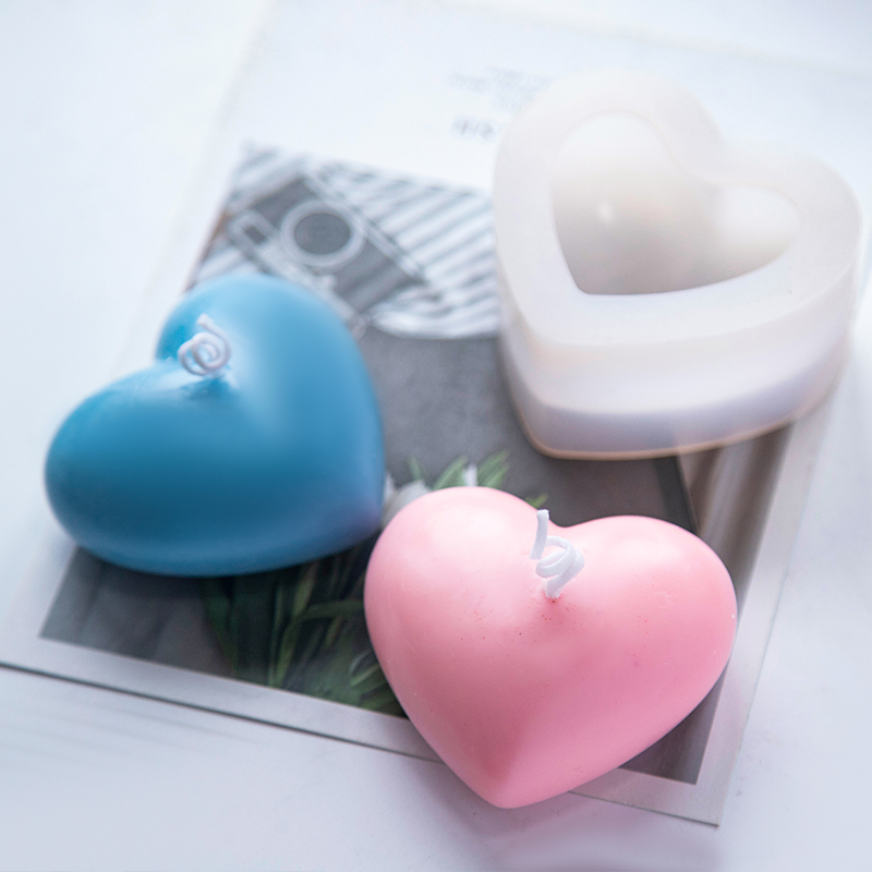 3D Love Heart Silicone Candle Mold Heart Aroma Gypsum Plaster Silicone Soap Mould Polymer Clay Molds Crafts DIY Gifts