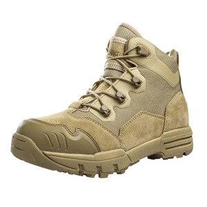 Los mejores zapatos de Trekking de Primavera de cuero de vaca para caza al aire libre, zapatos de lucha de combate para hombres, fanáticos militares tácticos, botas de absorción de choque para hombres