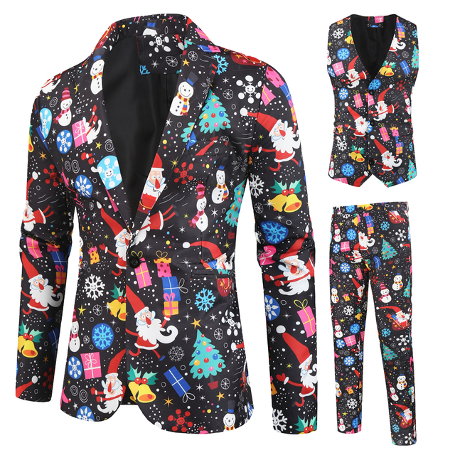 Brand Men's Slim Suits Christmas 3D Printed Three-Piece Suit Blazers Jacket Pants Trousers Vest Sets Prom Party Stage Costumes
