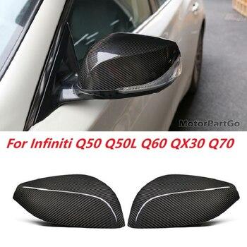 Real Dry Crabon Fiber Mirror Cover Exchange original 1 pair for  Infiniti Q50 Q50L Q60 QX30 Q70 2014-UP T269 1