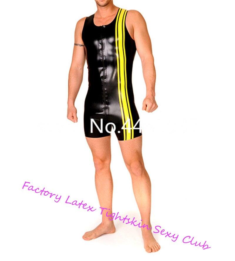 Gilet en Latex pour la peau serrée costume de suivi Sexy justaucorps en Latex maillot de bain Zip avant pour homme XS-XXXL