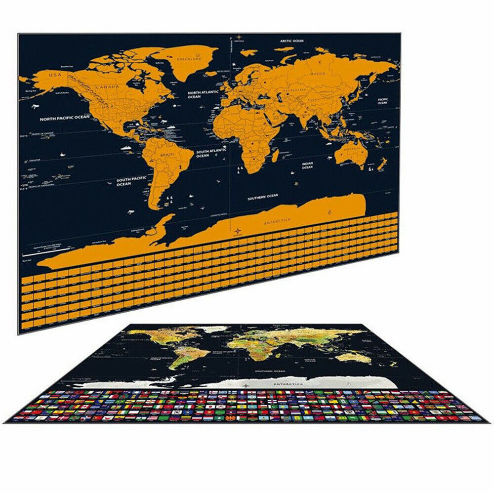 42x30cm World Travel Map Scratch Gold Foil Travel Map Scratch Off Foil Layer World Map Decoration Wall Stickers Office Supplies