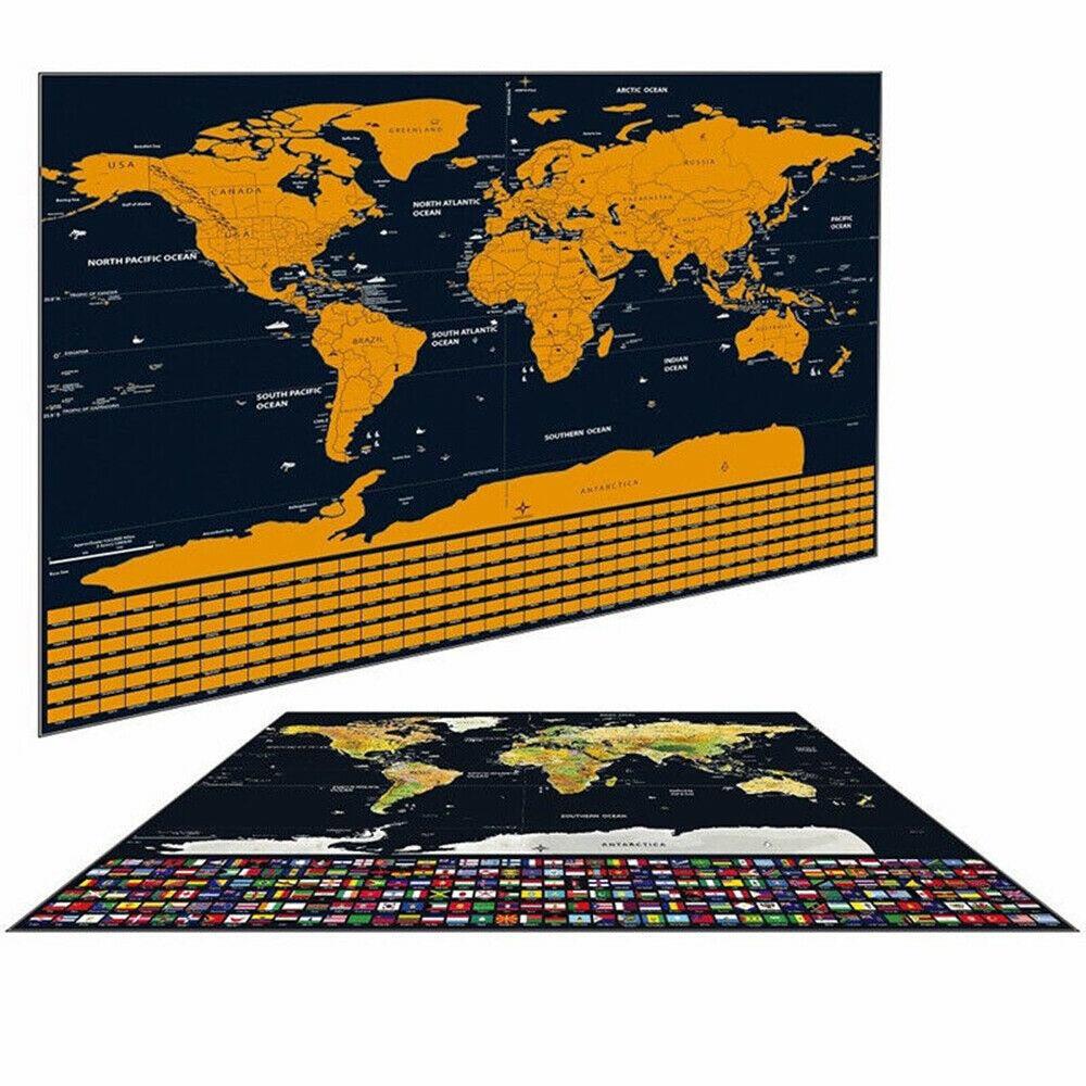 42x30cm World Travel Map Scratch Gold Foil Travel Map Scratch Off Foil Layer World Map Decoration Wall Stickers Office Supplies